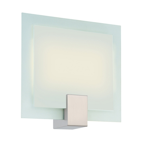 Sonneman Lighting Modern Sconce Wall Light with White Glass in Satin Nickel Finish 3682.13