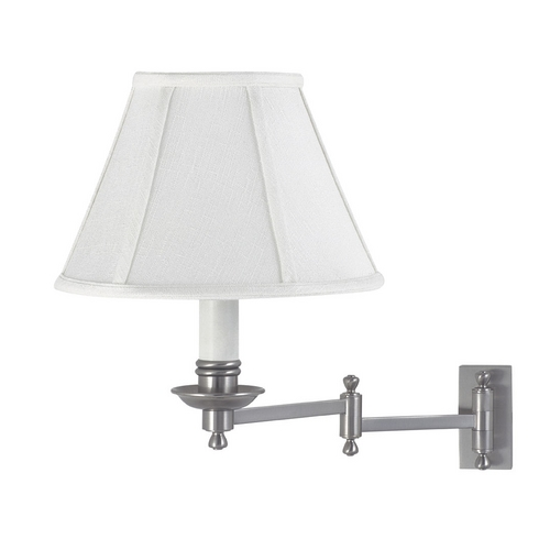House of Troy Lighting Swing Arm Lamp with White Shade in Satin Nickel Finish LL660-SN