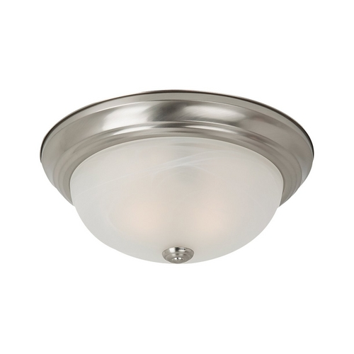 Sea Gull Lighting Flushmount Light with Alabaster Glass in Brushed Nickel Finish 75943-962