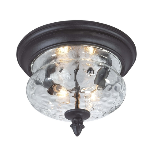 Minka Lavery Close To Ceiling Light with Clear Glass in Black Finish 9909-1-66