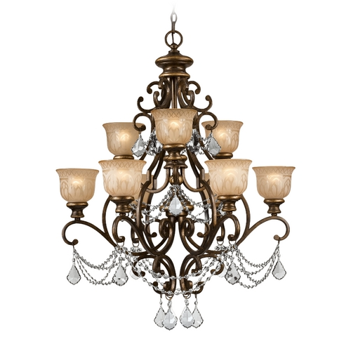 Crystorama Lighting Crystal Chandelier with Amber Glass in Bronze Umber Finish 7509-BU-CL-S
