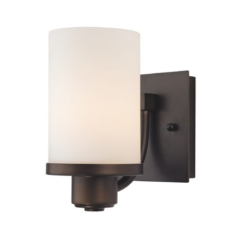 Design Classics Lighting Modern Sconce Wall Light with White Glass in Neuvelle Bronze Finish 589-220 GL1028C