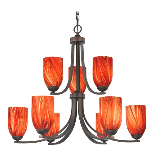 Design Classics Lighting Modern Chandelier with Red Glass in Neuvelle Bronze Finish 586-220 GL1017D