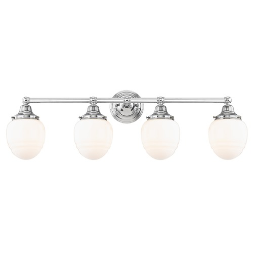 Design Classics Lighting Schoolhouse Bathroom Light Chrome White Opal Glass 4 Light 30.125 Inch Length WC4-26 GG5