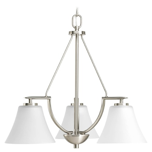 Progress Lighting Progress Chandelier with White Glass in Brushed Nickel Finish P4621-09
