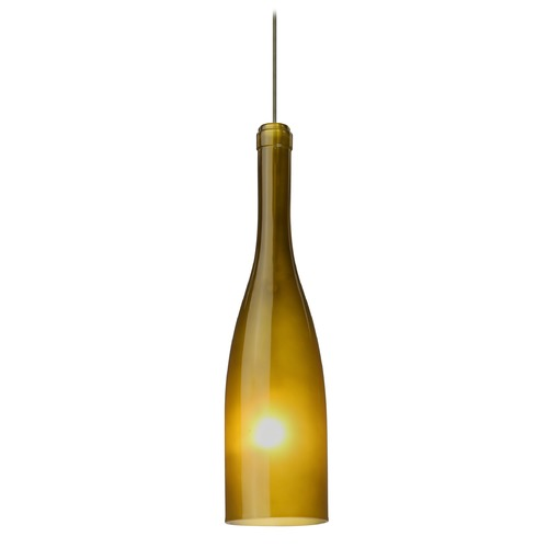 Besa Lighting Besa Lighting Botella Bronze LED Mini-Pendant Light with Oblong Shade 1XT-1685GF-LED-BR