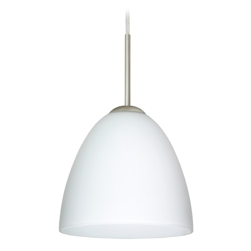Besa Lighting Besa Lighting Vila Satin Nickel LED Mini-Pendant Light with Bell Shade 1JT-447007-LED-SN