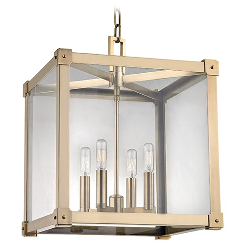 Hudson Valley Lighting Forsyth 4 Light Pendant Light Square Shade - Aged Brass 8616-AGB