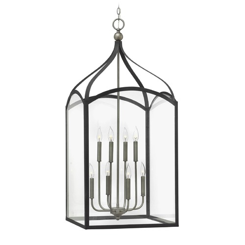 Hinkley Lighting Hinkley Lighting Clarendon Aged Zinc Pendant Light with Rectangle Shade 3418DZ