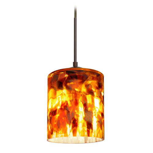 Besa Lighting Besa Lighting Falla Bronze Mini-Pendant Light with Cylindrical Shade 1JT-FAL6CF-BR