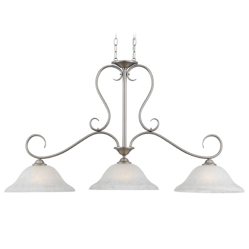 Quoizel Lighting Island Light with Grey Glass in Antique Nickel Finish DH348AN