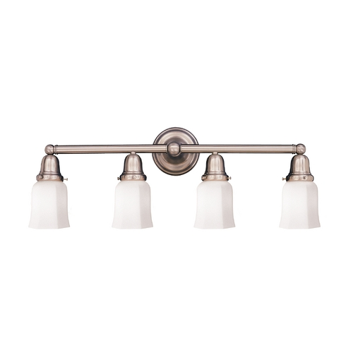 Hudson Valley Lighting Bathroom Light with White Glass in Satin Nickel Finish 864-SN-119