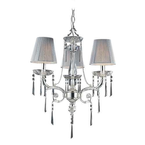 Elk Lighting Mini-Chandelier with Beige / Cream Shades in Polished Silver Finish 2395/3