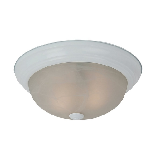 Sea Gull Lighting Flushmount Light with Alabaster Glass in White Finish 75943BLE-15