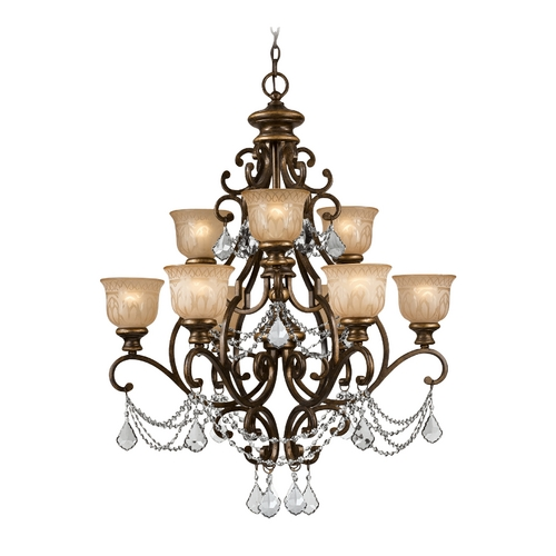Crystorama Lighting Crystal Chandelier with Amber Glass in Bronze Umber Finish 7509-BU-CL-SAQ