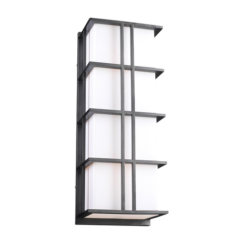 PLC Lighting Modern Outdoor Wall Light with White Glass in Bronze Finish 16648 BZ