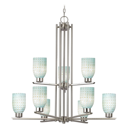 Design Classics Lighting Chandelier with Blue Art Glass in Satin Nickel Finish - 9-Lights 1122-1-09 GL1003D