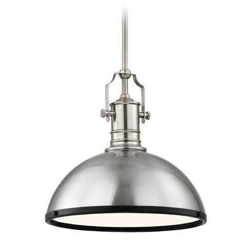 Design Classics Lighting Farmhouse Pendant Light Satin Nickel and Black 13.38-Inch Wide 1765-09 SH1776-09 R1776-07