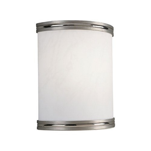 Progress Lighting Progress Modern Sconce Wall Light with White in Brushed Nickel Finish P7083-09EBWB