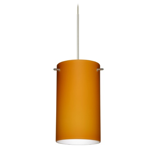 Besa Lighting Besa Lighting Stilo 7 Satin Nickel LED Mini-Pendant Light with Cylindrical Shade 1XT-440480-LED-SN