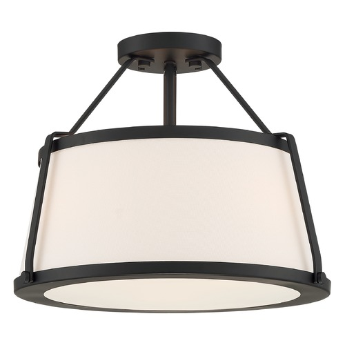 Satco Lighting Satco Lighting Cutty Matte Black Semi-Flushmount Light 60/6998