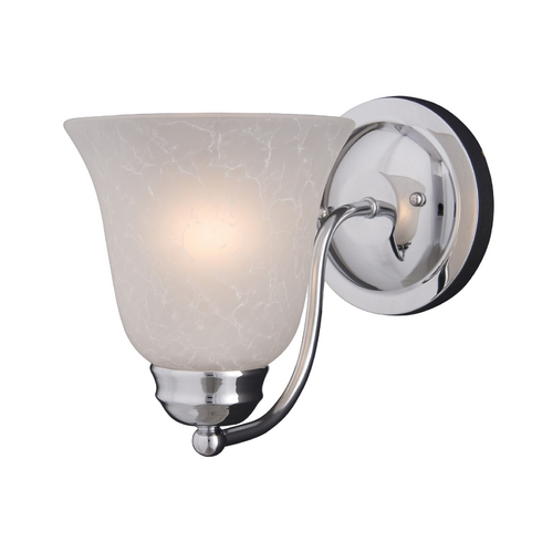 Maxim Lighting Modern Sconce Wall Light with White Glass in Polished Chrome Finish 2120ICPC