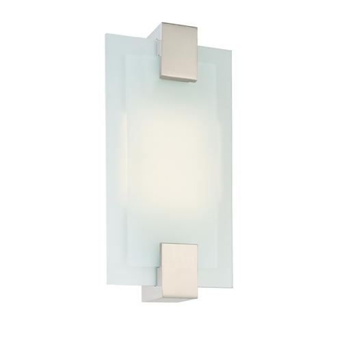 Sonneman Lighting Modern Sconce Wall Light with White Glass in Satin Nickel Finish 3681.13F