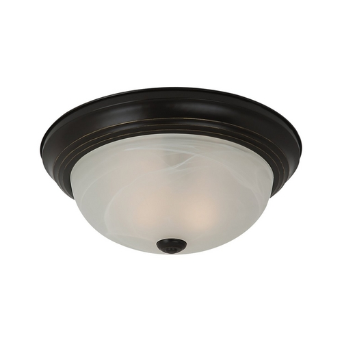 Sea Gull Lighting Flushmount Light with Alabaster Glass in Heirloom Bronze Finish 75943BLE-782