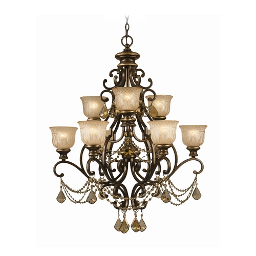Crystorama Lighting Crystal Chandelier with Amber Glass in Bronze Umber Finish 7509-BU-GT-MWP