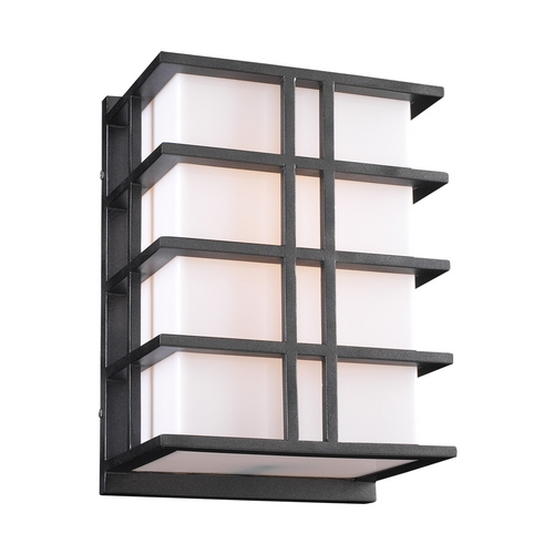 PLC Lighting Modern Outdoor Wall Light with White Glass in Bronze Finish 16646 BZ