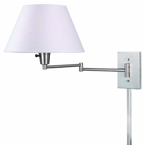 Kenroy Home Lighting Modern Swing Arm Lamp with Beige / Cream Shade in Brushed Steel Finish 30110BS