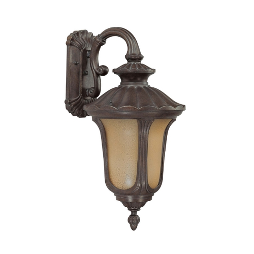 Nuvo Lighting Outdoor Wall Light with Amber Glass in Fruitwood Finish 60/3906