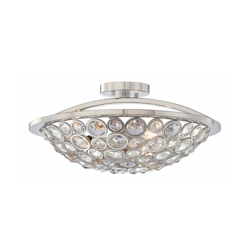 Metropolitan Lighting Crystal Bowl Ceiling Light in Polished Nickel Finish - Three-Lights N6750-613