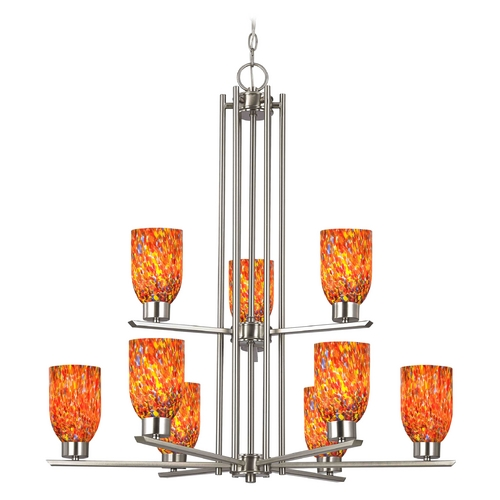 Design Classics Lighting Chandelier with Art Glass in Satin Nickel - 9-Lights 1122-1-09 GL1012D