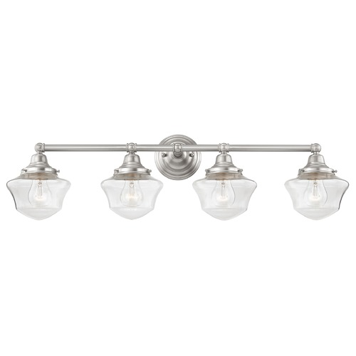 Design Classics Lighting Clear Glass Schoolhouse Bathroom Light Satin Nickel 4 Light 31.625 Inch Length WC4-09 GC6-CL