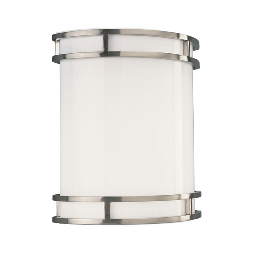 Progress Lighting Progress Modern Sconce Wall Light with White in Brushed Nickel Finish P7085-09EBWB