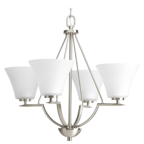 Progress Lighting Progress Chandelier with White Glass in Brushed Nickel Finish P4622-09