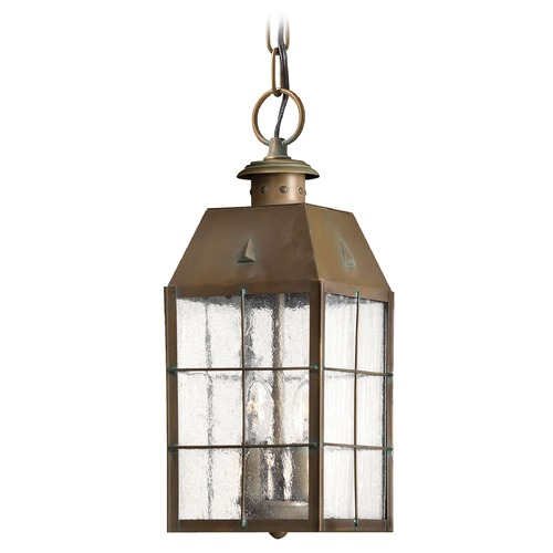 Hinkley Lighting Outdoor Hanging Light with Clear Glass in Aged Brass Finish 2372AS
