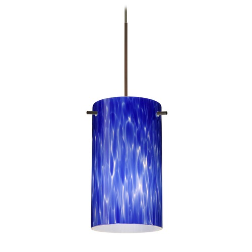 Besa Lighting Besa Lighting Stilo 7 Bronze LED Mini-Pendant Light with Cylindrical Shade 1XT-440486-LED-BR