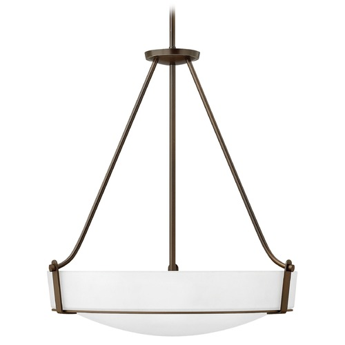 Hinkley Lighting Hinkley Lighting Hathaway Olde Bronze Pendant Light with Bowl / Dome Shade 3224OB-WH-GU24