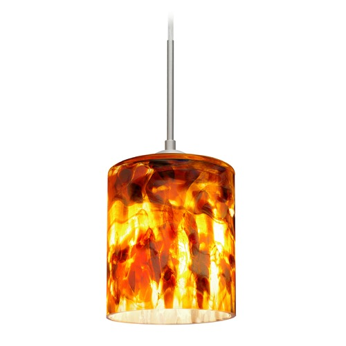 Besa Lighting Besa Lighting Falla Satin Nickel LED Mini-Pendant Light with Cylindrical Shade 1JT-FAL6CF-LED-SN