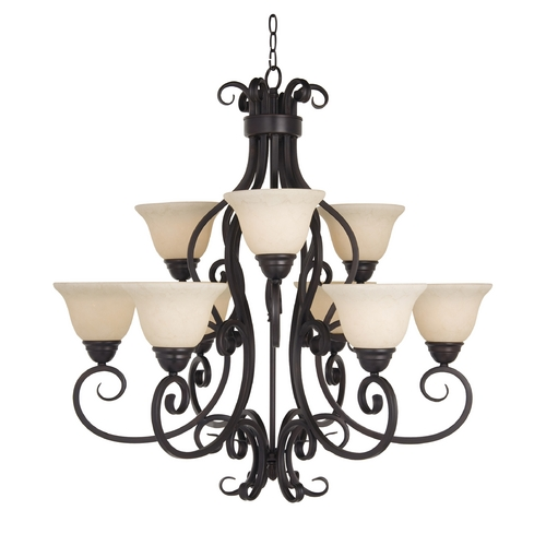 Maxim Lighting Chandelier with Ivory Glass in Oil Rubbed Bronze Finish 12207FIOI