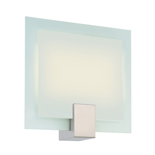 Sonneman Lighting Modern Sconce Wall Light with White Glass in Satin Nickel Finish 3682.13F