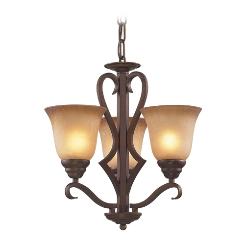 Elk Lighting Mini-Chandelier with Beige / Cream Glass in Mocha Finish 9326/3
