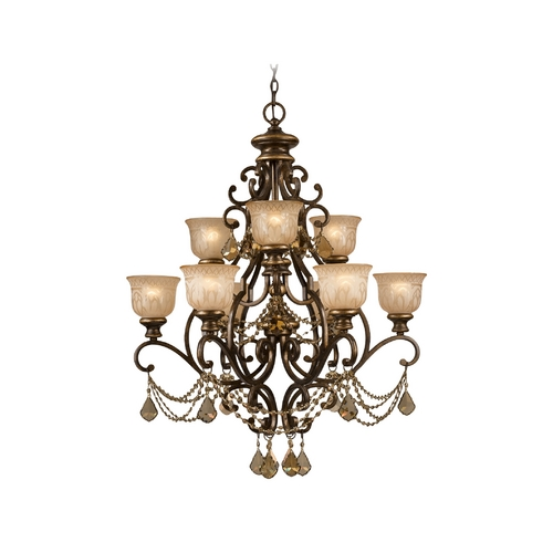 Crystorama Lighting Crystal Chandelier with Amber Glass in Bronze Umber Finish 7509-BU-GTS