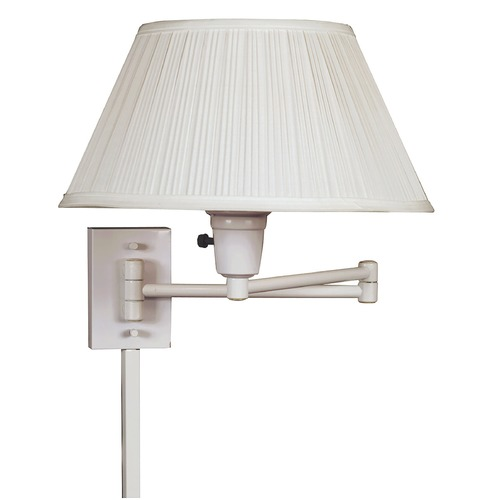 Kenroy Home Lighting Modern Swing Arm Lamp with White Shade in White Finish 30110WHWH-1