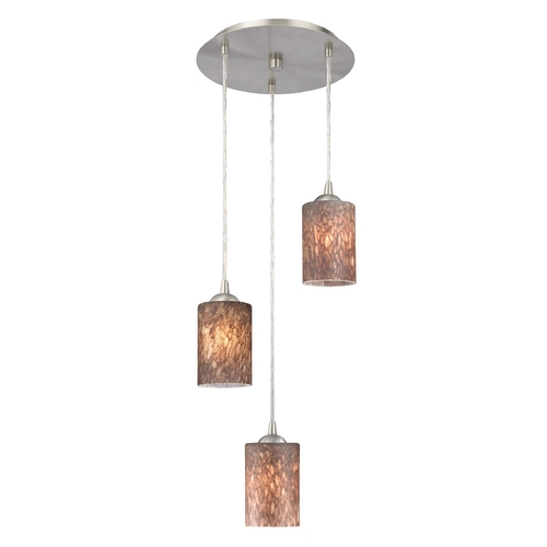 Design Classics Lighting Modern Multi-Light Pendant Light with Brown Art Glass and 3-Lights 583-09 GL1016C