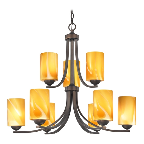 Design Classics Lighting Modern Chandelier with Butterscotch Art Glass in Neuvelle Bronze Finish 586-220 GL1022C
