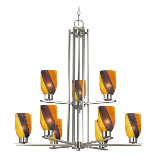Design Classics Lighting Chandelier with Art Glass in Satin Nickel - 9-Lights 1122-1-09 GL1015D
