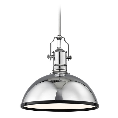 Design Classics Lighting Industrial Chrome Pendant Light with Black Accents 13.38-Inch Wide 1765-26 SH1776-26 R1776-07